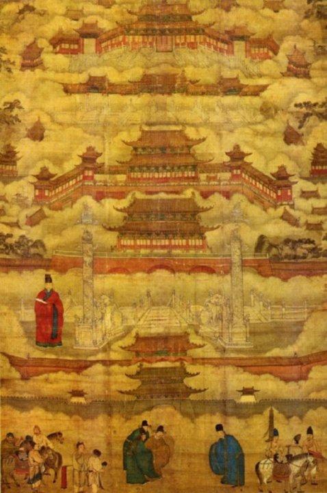 Dibujo de la Ciudad Prohibida durante la Dinastía Ming, alrededor del siglo XV DC. Pese a lo dudoso de su catalogación como ciudad, el gobierno considera que la fecha oficial del nacimiento de Pekín como tal se remonta al 1045 AC. La ciudad prohibida es el mayor símbolo de la capital china.