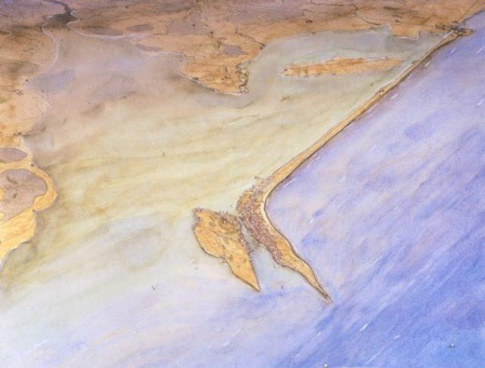Reproducción de Gades, el asentamiento previo a Cádiz. La ciudad pasó por manos griegas, fenicias y romanas, y siempre fue una de las urbes más importantes de Europa occidental durante la Edad Antigua. Es la primera ciudad como tal de la que se tiene constancia en la actual España, y siempre fue considerada una isla.