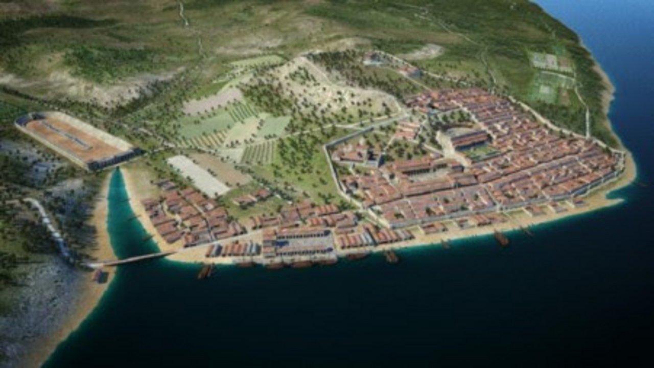 Olissipona para los griegos, Lisboa creció durante el Imperio Romano hasta convertirse en una de las ciudades más relevantes de Hispania durante la antigüedad. La imagen es una reproducción digital de lo que en su día fue la urbe romana, desarrollada sobre asentamientos previos griegos y fenicios.