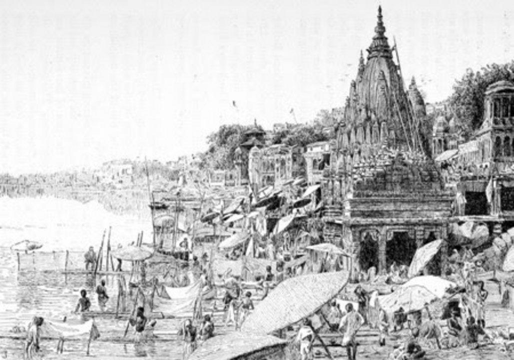 La evidencia arqueológica remonta los asentamientos humanos sobre la actual ciudad de Varanasi a alrededor del siglo 20 antes de Cristo. Eso no significa, sin embargo, que ya entonces existiera una ciudad como tal. Pese a todo, es ampliamente considerado uno de los asentamientos humanos más antiguos de los que se tiene constancia. En la imagen, Varanasi en un grabado temprano del siglo XIX.